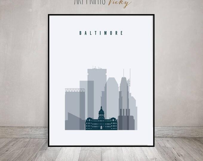 Baltimore art print, Poster, Wall art, Baltimore skyline, Maryland, City poster, Typography art, Home Decor, Digital Print, ArtPrintsVicky