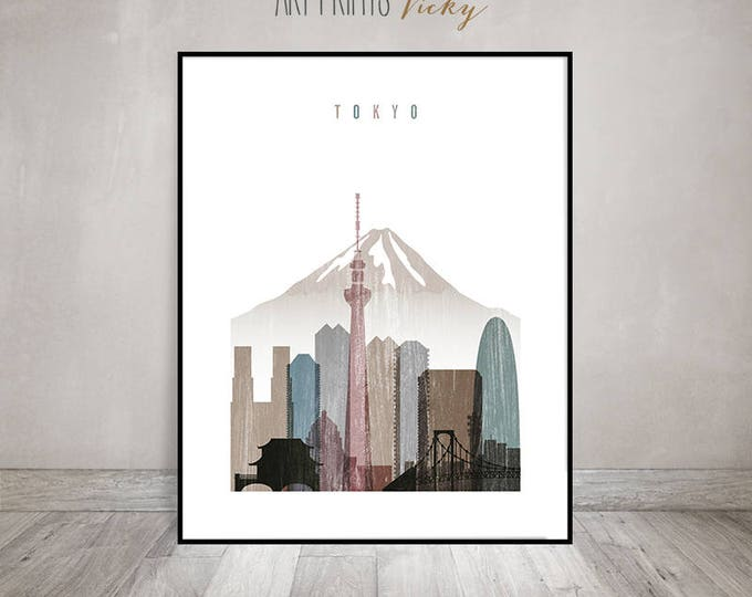 Tokyo print, Tokyo Poster, Wall art, Tokyo Skyline, Travel gift, City poster, Travel decor, Japan cityscape, distressed art, ArtPrintsVicky
