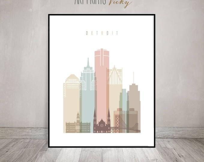 Detroit Print Pastel Vertical Skyline Poster | ArtPrintsVicky.com