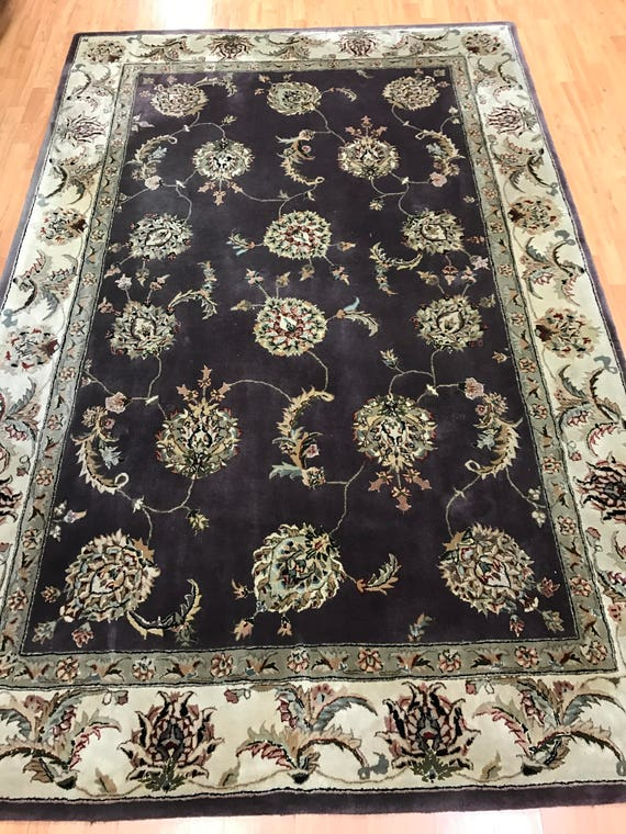 """5'7"""" x 8'7"""" Indian Agra Oriental Rug - Full Pile - Hand Made - Wool and Silk"""