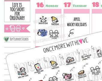 Wacky Holidays - April 2018 Planner Stickers (2018 - W04)