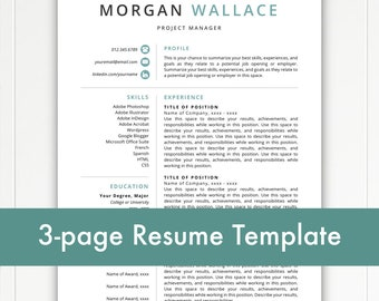 Resume Template, Modern Resume, Resume Template Instant Download, Resumes, Cover Letter + References, Mac + PC