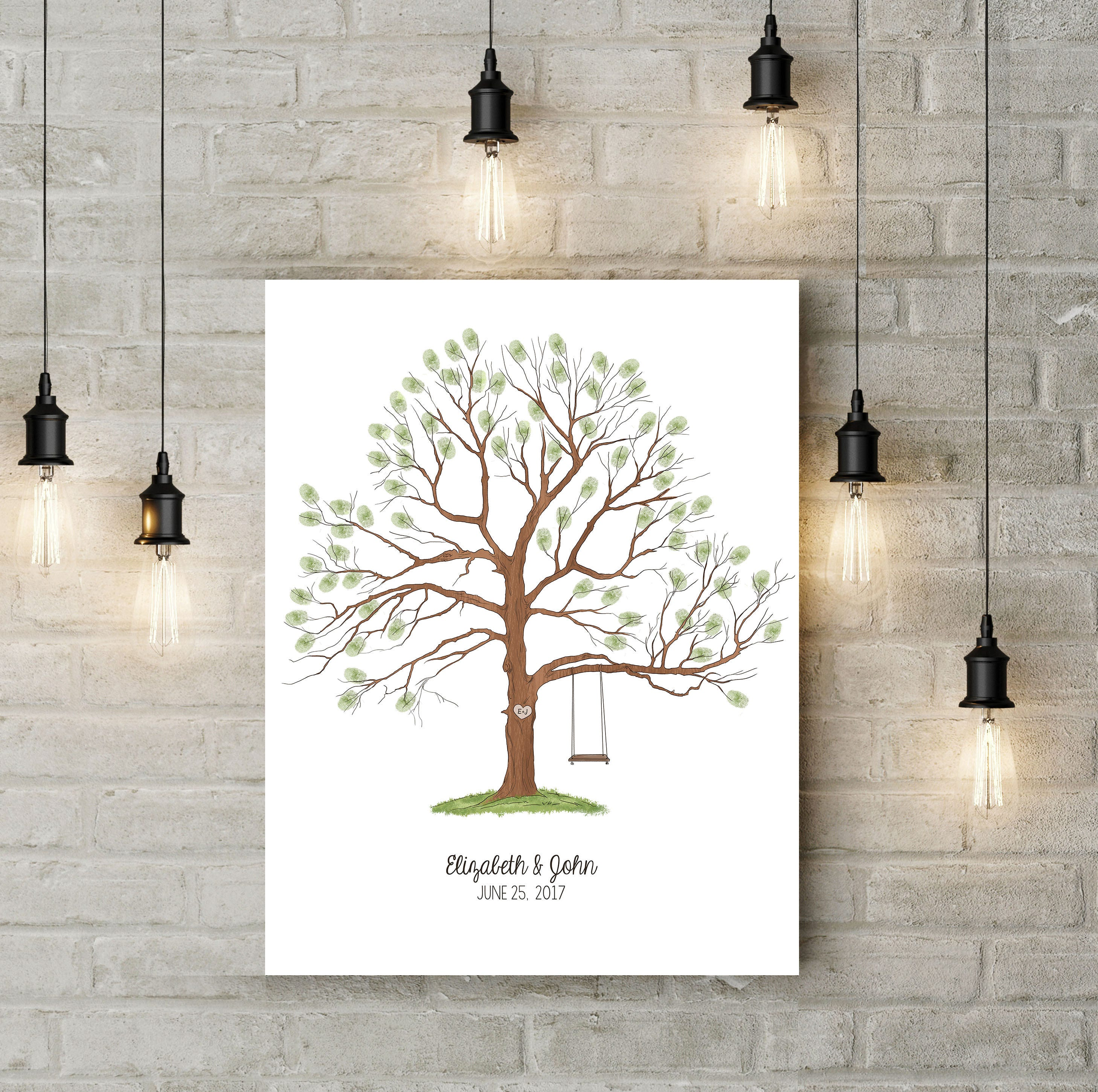 Guestbook Tree Print Wedding Alternative Guest Book Thumbprint