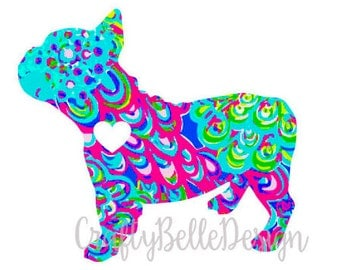 French Bulldog Decal | Lilly Pulitzer inspired French Bulldog Decal | French Bulldog Mom Decal | French Bulldog Dad Decal | Dog Decal