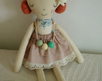 Fabric handmade doll,Rag doll, Handmade Cloth doll, Fabric soft doll,Handmade doll,Baby Girl gift,Stuffed doll,poupée
