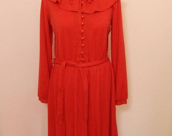 1970s Winter Wool Dress With Unsual Collar Size M