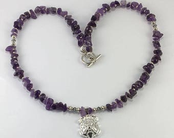 Handmade Genuine Purple Amethyst Bulldog Pendant necklace Genuine Amethyst necklace English Bulldog Necklace Bully jewelry dog lover