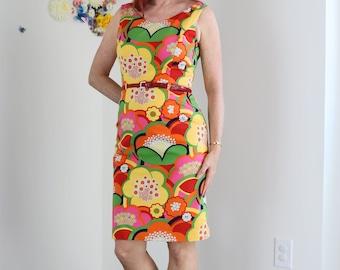 "1990s Dress//Vintage Floral Sheath Dress//Small/Med 29""//Designer//David Meister//Bright Sleeveless Summer Spring Midi Day Dress"