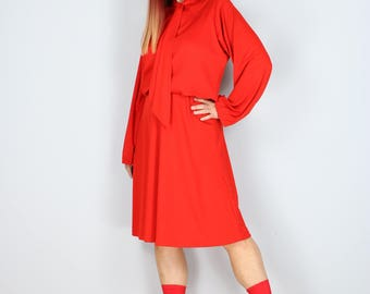 1960s Dress - Pussy Bow Midi Dress - Tomato Red - Full Skirt - Long Sleeve - Polyester - Size Medium/Large