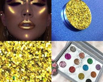 SPARKLY PRESSED GLITTER Eyeshadow Cosmetic Makeup (Goldiluxe) uk