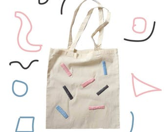 Hand embroidered confetti tote shopper bag.