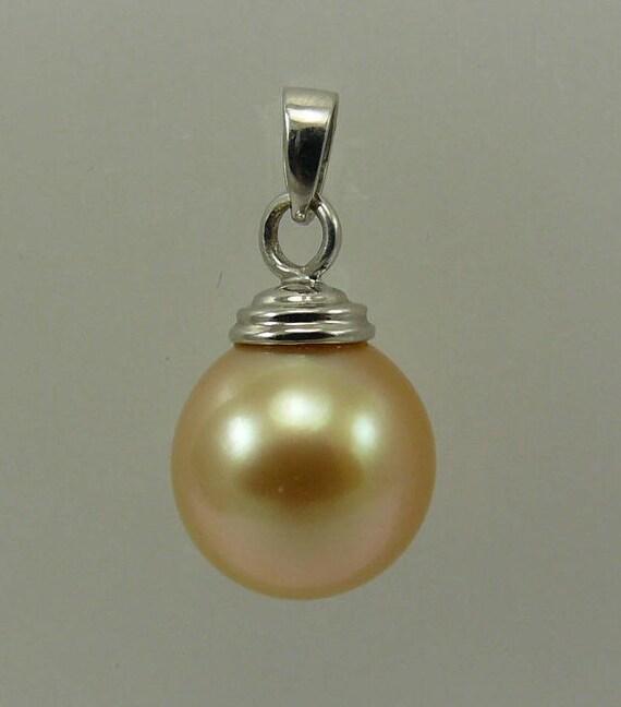 South Sea Golden 10.4 mm Pearl Pendant 14k White Gold