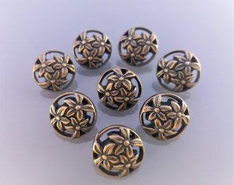 8 flower buttons 12 mm plastic bronze