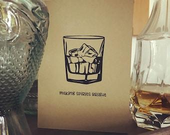 Making Spirits Bright Hand printed Holiday Card - screen print - christmas - seasons greetings - spirits - drinking - booze - humor - funny