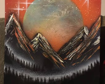 Snow-Covered Mountains - Spray Paint Art