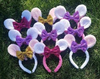 Sparkly Bow Bunny Ears, Easter Bunny Ears, Easter, Bow Headbands, Easter Headbands