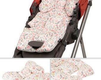 Reversible Stroller Pad Liner / Pram liners / Stroller Liner . flower print