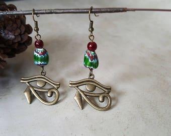 Egyptian Eye Earrings - African Trade Bead Earrings - Eye Of Horus Earrings - African Earrings - Egyptian Earrings - Afrocentric Earrings