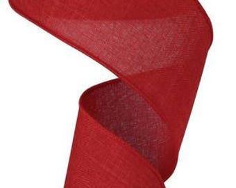 RIBBON - Wired Ribbon - Red Ribbon - Wreath - Floral Ribbon - RG127924