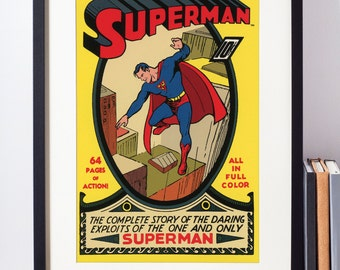 DC Comics Wall Art / Superman Wall Decor / Superhero Poster / Nerdy Gift / Geekery / Superman Wall Art / Superhero Nursery Decor / Geeky Art