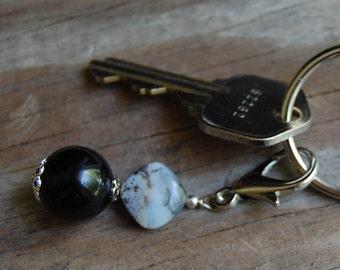 Gemstone Key Charm Obsidian with Ocean Jasper