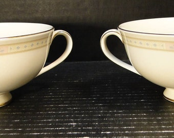 TWO Royal Doulton Cassandra 2 handled Footed Cream Soup Bowls H 5117 Set of 2 EXCELLENT!