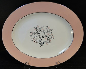 "Homer Laughlin Cavalier Springtime Oval Serving Platter 11 3/4""  CV32 Pink EXCELLENT!"