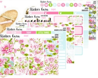 Watercolor Lotus Flower Lily Pad // Weekly Sticker Kit // Erin Condren MAMBI Happy Planner Planner Stickers [K058/D061]