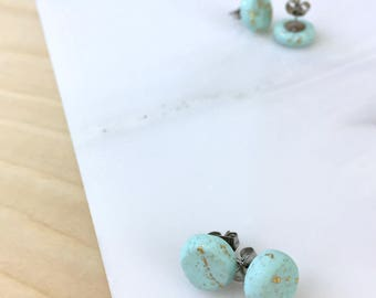 Blue earrings, studs, stud earrings, polymer clay jewelry, post earrings, everyday earrings, small studs, small earrings, teen stud earrings
