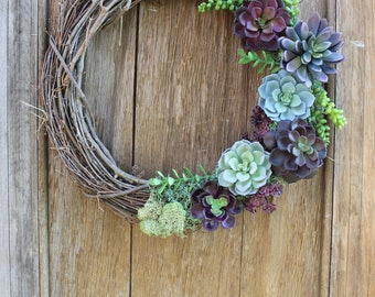 Succulent Wreath, Spring Wreath, Purple Succulents, Succulent Decor, Purple Wreath, Natural Wreath, Faux Succulent Wreath, Rustic Wreath