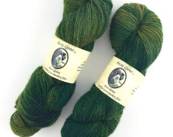Qiviut Yarn 100% Pure Arctic Meadow, 437 Yds 2Ply 2oz Skein Lace Weight Yarn Hand Painted by Arctic Qiviut New Stock Variegated Green Qiviut