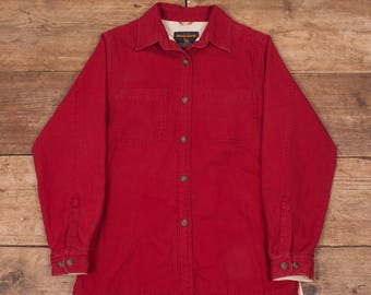 Womens Vintage Woolrich Red Fleece Lined Shirt Small 8-10 R6852