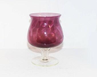 Amethyst / Cranberry Glass Pedestal Vase Stunning - 1497
