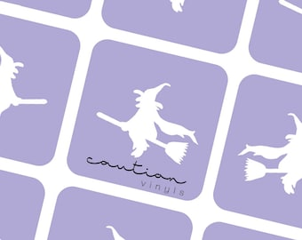 Witch On Broomstick Vinyls - Nail Stencil for Nail Art
