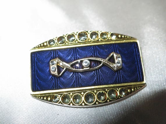 Lovely vintage French made art deco style blue enamel rhinestone brooch