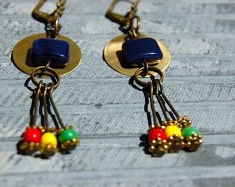 Rasta Earrings, Tribal Earrings, Bohemian Earrings, Rastafari Jewelry, Dangle Earrings, Boho Jewelry, Ethnic earrings, Hippie Gift for her