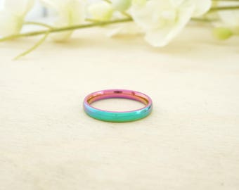 Rainbow Plated Stainless Steel 3mm Comfort Fit Band - Blue Stainless Steel Ring Blank - Stainless Blank Ring - Pack of 10