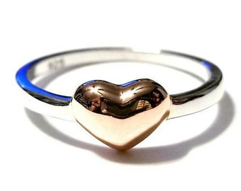 Heart Ring, Two-Tone Heart Ring, Sterling Silver Ring, 925 Sterling Silver Ring, Rose Gold Ring, Stackable Ring, Stackable Heart Ring