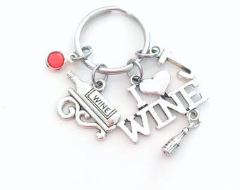 I love Wine KeyChain, Wine Bottle Key Chain, Gift for Best Friend Keyring Jewelry Initial Birthstone Mother's Day Present Mom 21st Birthday