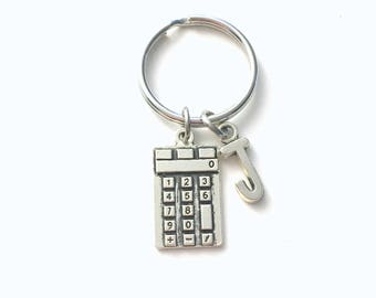 Calculator Keychain, Gift for Business Student Math, Physics Key Chain Calculus Accounting Keyring with Initial letter professor teen girl