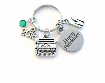 Retirement Gift for Women Keychain, 2018 for Secretary Key chain, Typewriter Keyring Coworker Initial letter birthstone women Journalist her