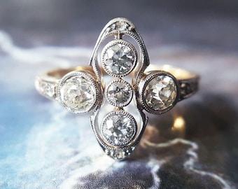 Antique Engagement Ring | Diamond Engagement Ring | Vintage Engagement Ring  1920s Art Deco .91