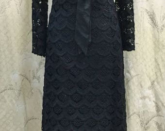 Vintage 1960s/1970s Black Lace Maxi Dress