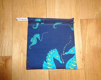 Reuseable Wrap - Bikini Bag - Lunch Bag  - Zero Waste Medium Poppins Waterproof Lined Zip Pouch - Sandwich bag - Eco - Seahorse Ocean Sea