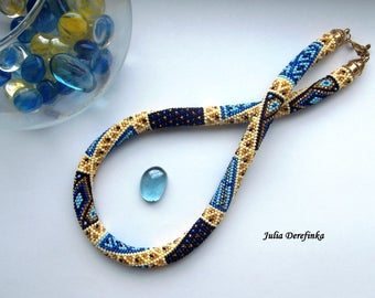 Patchwork necklace Bead crochet rope Beaded crocheted necklace Deep blue yellow golden necklace  - READY TO SHIP!!!