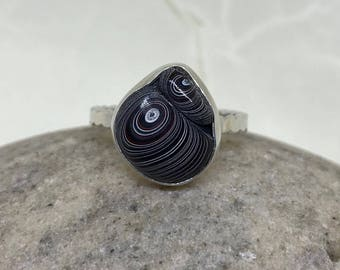 Unusual FORDITE Detroit Motor City Agate Ring, Sterling Silver, Handmade in Michigan, Freeform Cabochon, Size 8