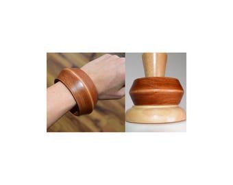 Vintage 70s Wooden Huge Cuff BANglE Bracelet