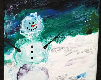 Snowman #2 Fluid Art acrylic painting on 8x10 canvas