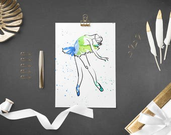 watercolour, ballerina wall art, printable, home decor, housewarming gift, instant download, digital prints, girls room decor,