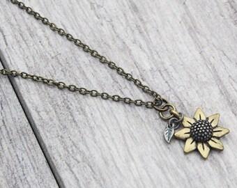 Bronze Sunflower Necklace // Sunflower // Jewelry // Chain Necklace // Pendant // Sunflower Pendant // Patina // Flower // Boho // Hippie